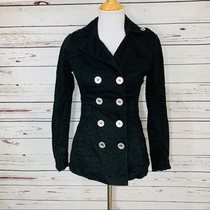 {GUESS} Black Double Breasted Pea Coat